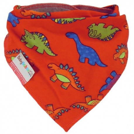 Red Dinosaurs - bandana dribble bib - Baby Babas