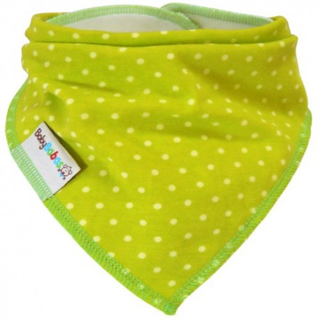 Lime Green Dots - bandana dribble bib - Baby Babas