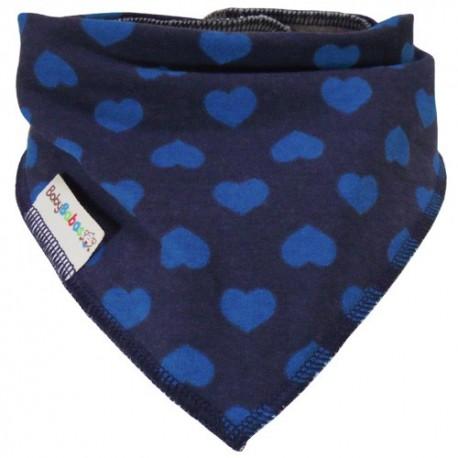 Navy Blue Hearts - bandana dribble bib by Baby Babas