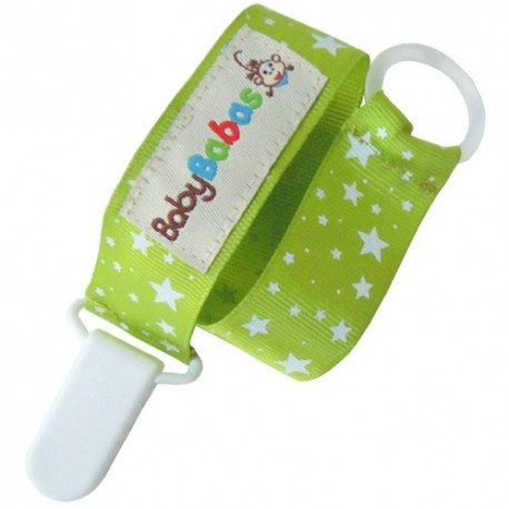 Lime Green with Stars Pacifier Clip
