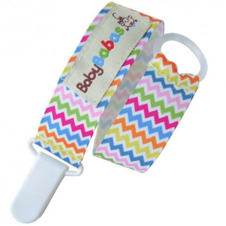 Multicoloured Zig Zag Pacifier Clip - Baby Babas