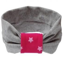 Grey with Fuchsia Stars Headband - Baby Babas