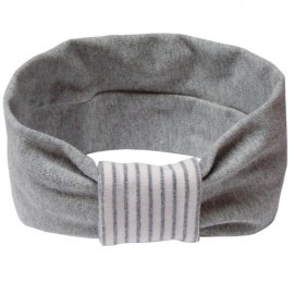 Grey with White & Grey Stripes Headband - Baby Babas