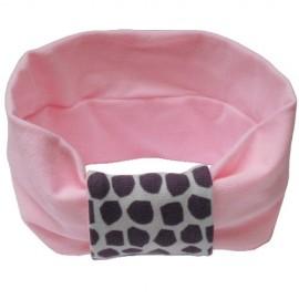 Light Pink with Grey Giraffe Headband - Baby Babas